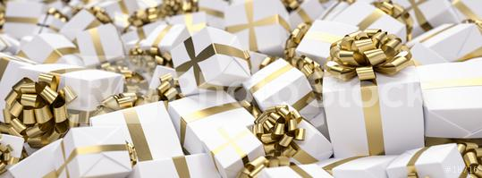 Gift background for Christmas with a bunch of gifts in gold and white  : Stock Photo or Stock Video Download rcfotostock photos, images and assets rcfotostock | RC-Photo-Stock.: