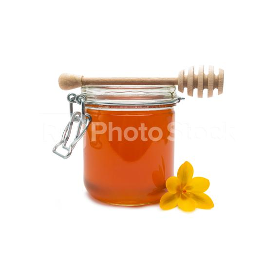 glass jar of honey and wooden stick  : Stock Photo or Stock Video Download rcfotostock photos, images and assets rcfotostock | RC-Photo-Stock.: