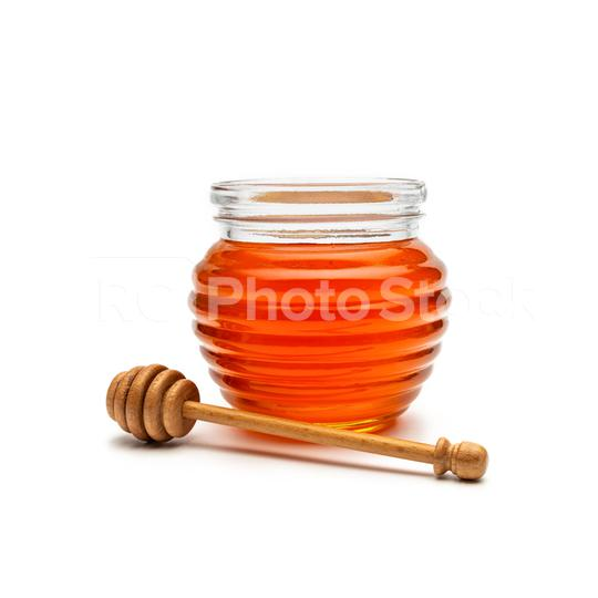 Glass of honey in a jar with a wooden honey dipper, isolated on white background  : Stock Photo or Stock Video Download rcfotostock photos, images and assets rcfotostock | RC-Photo-Stock.:
