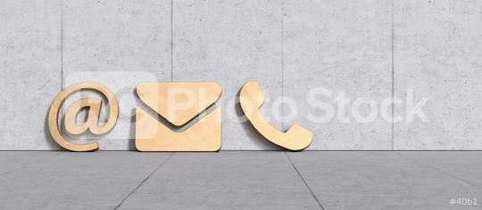 golden contact icons leaning against a wall as a hotline and service panorama concept   : Stock Photo or Stock Video Download rcfotostock photos, images and assets rcfotostock | RC-Photo-Stock.: