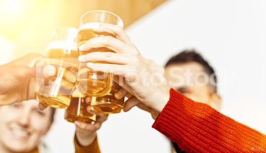 Group of friends enjoying a beer in brewery pub, Young people hands cheering at bar restaurant or at home, Friendship and youth concept image  : Stock Photo or Stock Video Download rcfotostock photos, images and assets rcfotostock | RC-Photo-Stock.: