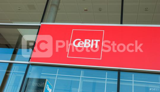 """HANNOVER, GERMANY MARCH, 2017: The logo of the brand """"Cebit"""". The Cebit is the biggest trade fair for information technology in the world.  : Stock Photo or Stock Video Download rcfotostock photos, images and assets rcfotostock 