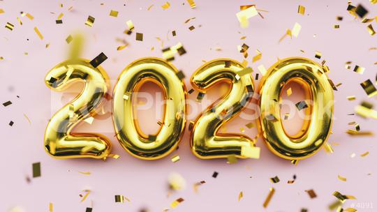 Happy New 2020 Year. Holiday golden metallic numbers 2020 and confetti on pink background  : Stock Photo or Stock Video Download rcfotostock photos, images and assets rcfotostock   RC-Photo-Stock.: