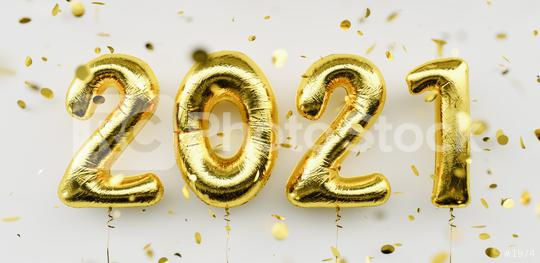 Happy New 2021 Year. Holiday gold metallic balloon numbers 2021 and falling confetti on white background  : Stock Photo or Stock Video Download rcfotostock photos, images and assets rcfotostock   RC-Photo-Stock.:
