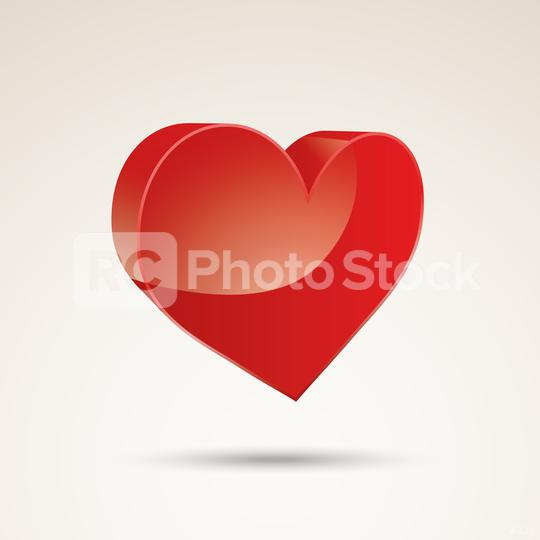 Heart Icon in 3D Vector. Perfect Love symbol. Valentine