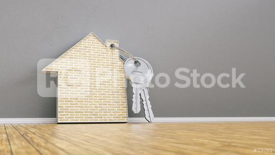 house with bricks and keys leaning on wall, financing concept - 3D Rendering  : Stock Photo or Stock Video Download rcfotostock photos, images and assets rcfotostock | RC-Photo-Stock.: