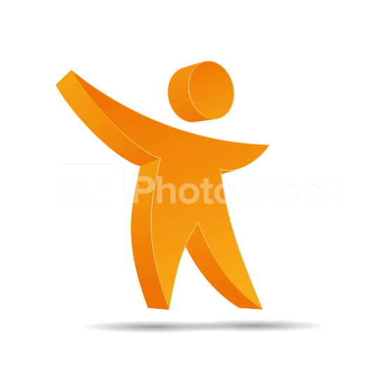 Human Figure Logo in orange glossy colors on white background. Vector illustration. Eps 10 vector file.  : Stock Photo or Stock Video Download rcfotostock photos, images and assets rcfotostock | RC-Photo-Stock.: