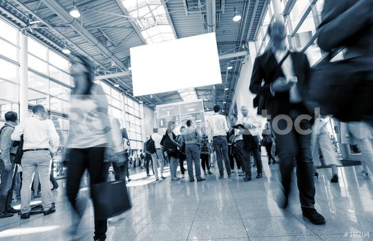 International trade fair with blurred people Walking in a lobby  : Stock Photo or Stock Video Download rcfotostock photos, images and assets rcfotostock | RC-Photo-Stock.: