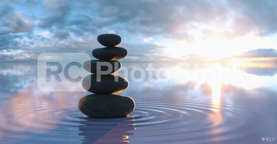 Japanese zen garden - stacks of pebbles in the wide ocean at sunset  : Stock Photo or Stock Video Download rcfotostock photos, images and assets rcfotostock   RC-Photo-Stock.: