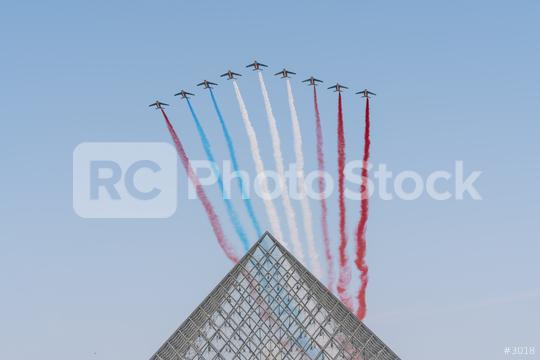 Jet aircrafts aerobatic group of French Air Force drawing french flag figure in the sky  : Stock Photo or Stock Video Download rcfotostock photos, images and assets rcfotostock | RC-Photo-Stock.: