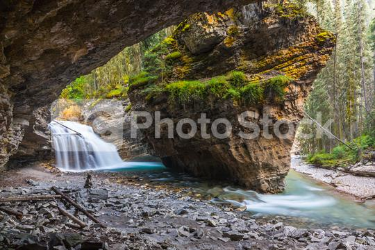 Johnston Canyon Waterfall Cave at Banff canada  : Stock Photo or Stock Video Download rcfotostock photos, images and assets rcfotostock | RC-Photo-Stock.:
