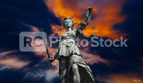 Justitia against cloudy sunset sky  : Stock Photo or Stock Video Download rcfotostock photos, images and assets rcfotostock | RC-Photo-Stock.: