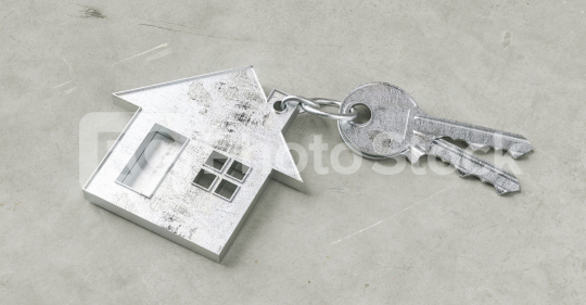 Keys with house shaped keychain on a Keys with house shaped keychain on a concrete ground floor as a house purchase and housing concept  : Stock Photo or Stock Video Download rcfotostock photos, images and assets rcfotostock   RC-Photo-Stock.:
