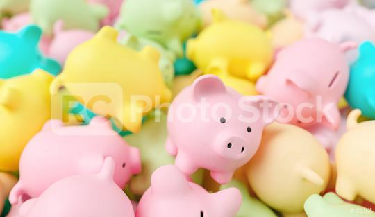 Large group of pastel colored piggy banks  : Stock Photo or Stock Video Download rcfotostock photos, images and assets rcfotostock | RC-Photo-Stock.: