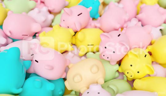 Large group of piggy banks in pastel colors  : Stock Photo or Stock Video Download rcfotostock photos, images and assets rcfotostock | RC-Photo-Stock.: