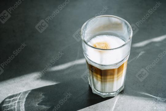latte macchiato coffee in a glass in a restaurant  : Stock Photo or Stock Video Download rcfotostock photos, images and assets rcfotostock | RC-Photo-Stock.: