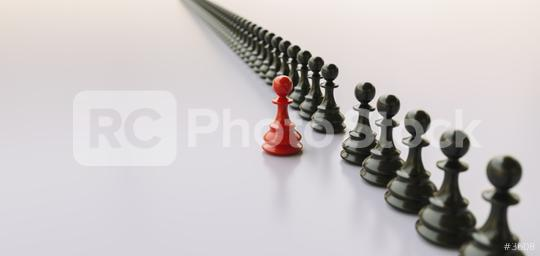 Leadership concept, red pawn of chess, standing out from the crowd of blacks, banner size  : Stock Photo or Stock Video Download rcfotostock photos, images and assets rcfotostock   RC-Photo-Stock.: