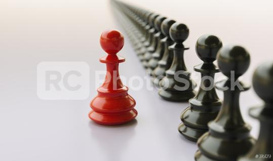 Leadership concept, red pawn of chess, standing out from the crowd  : Stock Photo or Stock Video Download rcfotostock photos, images and assets rcfotostock | RC-Photo-Stock.: