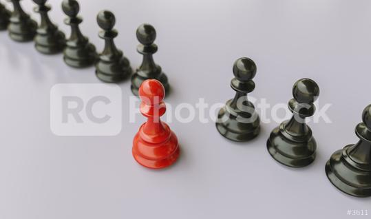 Leadership concept, red pawn of chess, standing out from the crowd of blacks pawn  : Stock Photo or Stock Video Download rcfotostock photos, images and assets rcfotostock   RC-Photo-Stock.: