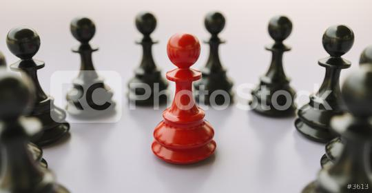 Leadership concept, red pawn of chess, standing out from the crowd of blacks  : Stock Photo or Stock Video Download rcfotostock photos, images and assets rcfotostock | RC-Photo-Stock.: