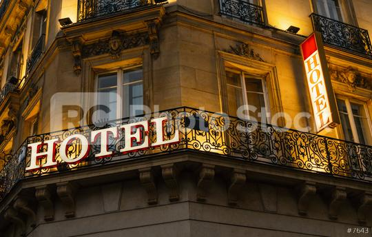 lluminated hotel sign taken in Paris at night  : Stock Photo or Stock Video Download rcfotostock photos, images and assets rcfotostock | RC-Photo-Stock.: