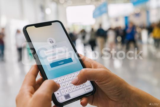 Login with smartphone to online bank account or personal information on internet. Registration to social media app. Hands typing and entering username and password to an imaginary mobile application.  : Stock Photo or Stock Video Download rcfotostock photos, images and assets rcfotostock | RC-Photo-Stock.: