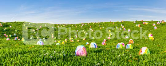 Looking for many easter eggs on green meadow as a panorama header  : Stock Photo or Stock Video Download rcfotostock photos, images and assets rcfotostock   RC-Photo-Stock.: