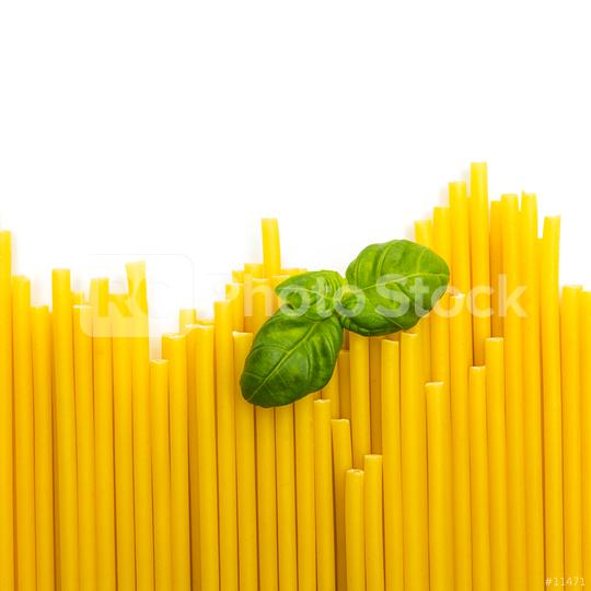 macaroni noodels in a row with basil leaf  : Stock Photo or Stock Video Download rcfotostock photos, images and assets rcfotostock | RC-Photo-Stock.: