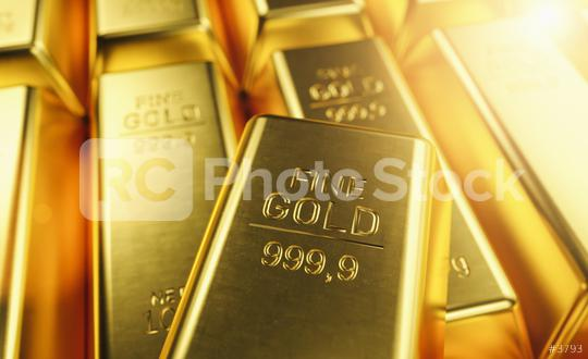 Macro view of stacks of gold bars   : Stock Photo or Stock Video Download rcfotostock photos, images and assets rcfotostock | RC-Photo-Stock.: