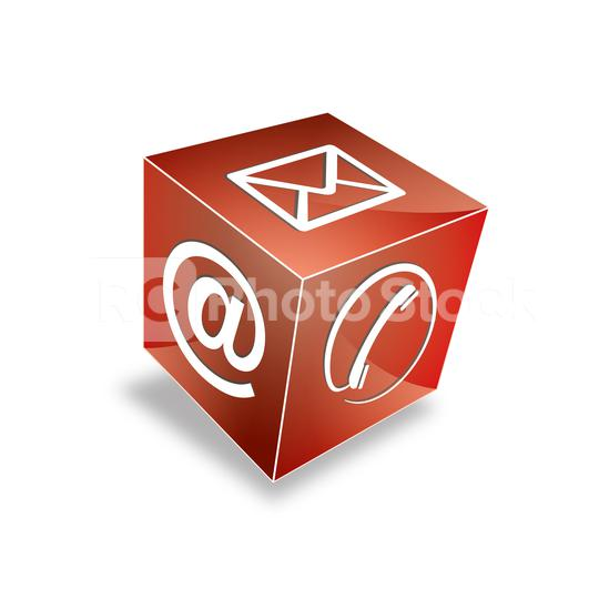 Mail-Symbol, Telefon am Zeichenwürfel in roter Farbe. Vektorillustration. Eps 10 Vektordatei  : Stock Photo or Stock Video Download rcfotostock photos, images and assets rcfotostock | RC-Photo-Stock.: