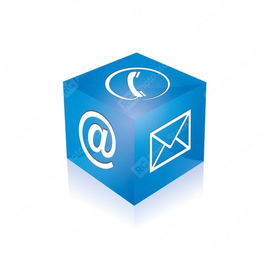 Mail-Symbol, Telefon Zeichen würfel in blauer Farbe. Vektorillustration. Eps 10 Vektordatei  : Stock Photo or Stock Video Download rcfotostock photos, images and assets rcfotostock | RC-Photo-Stock.:
