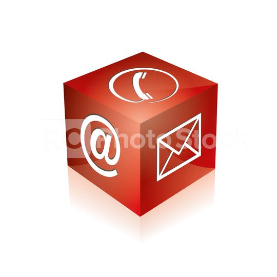 Mail-Symbol, Telefon Zeichen würfel in roter Farbe. Vektorillustration. Eps 10 Vektordatei  : Stock Photo or Stock Video Download rcfotostock photos, images and assets rcfotostock | RC-Photo-Stock.: