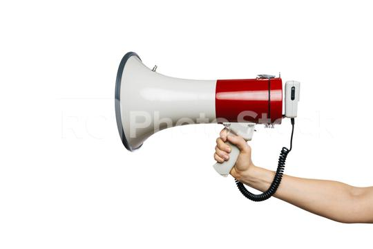 Man hand holding a Red and white bullhorn or megaphone in his hand, isolated on white background  : Stock Photo or Stock Video Download rcfotostock photos, images and assets rcfotostock | RC-Photo-Stock.: