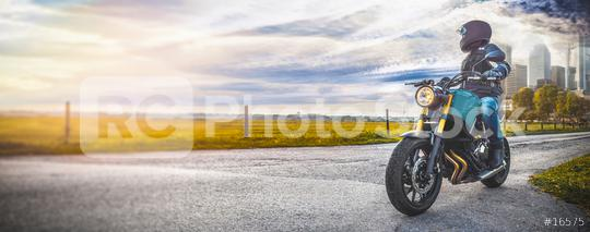 man on motorbike on the road. having fun driving the empty road on a motorcycle tour journey. copyspace for your individual text.  : Stock Photo or Stock Video Download rcfotostock photos, images and assets rcfotostock | RC-Photo-Stock.: