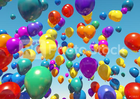 many colorful Balloons Flying to the blue sky - 3D Rendering  : Stock Photo or Stock Video Download rcfotostock photos, images and assets rcfotostock | RC-Photo-Stock.: