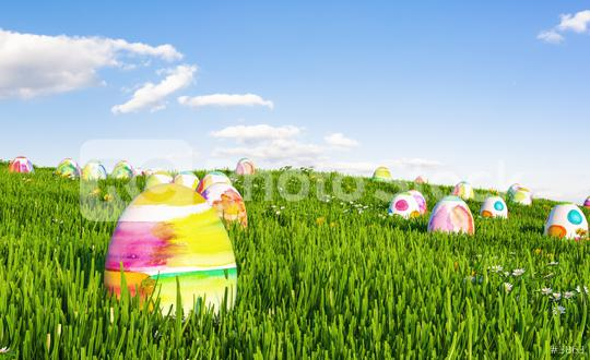 Many colorful easter eggs hunt on a green meadow   : Stock Photo or Stock Video Download rcfotostock photos, images and assets rcfotostock | RC-Photo-Stock.: