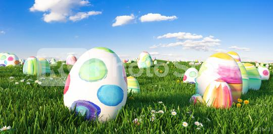 Many colorful easter eggs in the grass of a meadow for easter  : Stock Photo or Stock Video Download rcfotostock photos, images and assets rcfotostock | RC-Photo-Stock.: