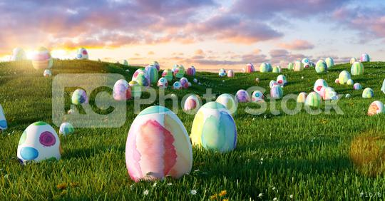 Many colorful easter eggs in the grass of a meadow for easter at sunset  : Stock Photo or Stock Video Download rcfotostock photos, images and assets rcfotostock | RC-Photo-Stock.:
