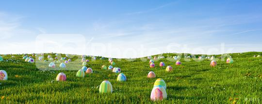 Many colorful easter eggs in the grass of a meadow for easter, including Copy Space  : Stock Photo or Stock Video Download rcfotostock photos, images and assets rcfotostock | RC-Photo-Stock.: