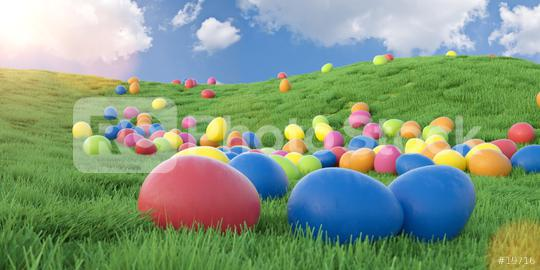 Many colorful easter eggs on a green meadow, easter hunt concept image - 3D Rendering  : Stock Photo or Stock Video Download rcfotostock photos, images and assets rcfotostock | RC-Photo-Stock.: