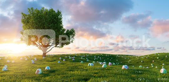 Many colorful painted Easter eggs are looking at meadow with tree for Easter, copy space for individual text  : Stock Photo or Stock Video Download rcfotostock photos, images and assets rcfotostock   RC-Photo-Stock.: