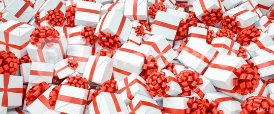 Many different red and white Christmas gifts for Christmas on a pile  : Stock Photo or Stock Video Download rcfotostock photos, images and assets rcfotostock   RC-Photo-Stock.: