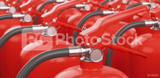 Many fire extinguishers. Concept of protection and security   : Stock Photo or Stock Video Download rcfotostock photos, images and assets rcfotostock | RC-Photo-Stock.: