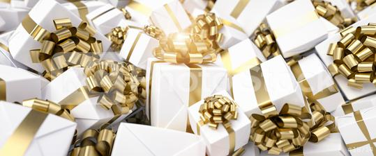 Many gold and white gifts for Christmas on a big pile  : Stock Photo or Stock Video Download rcfotostock photos, images and assets rcfotostock | RC-Photo-Stock.: