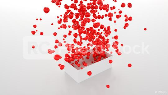 many Hearts flying out of a box - 3D Rendering   : Stock Photo or Stock Video Download rcfotostock photos, images and assets rcfotostock | RC-Photo-Stock.: