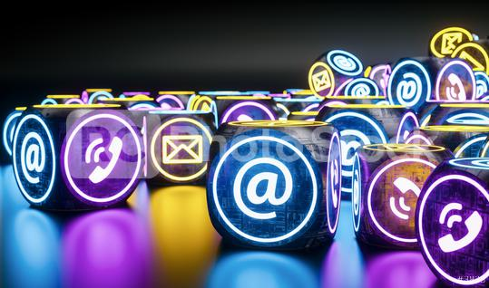 many neon light cubes Hotline support contact communication concept image  : Stock Photo or Stock Video Download rcfotostock photos, images and assets rcfotostock | RC-Photo-Stock.: