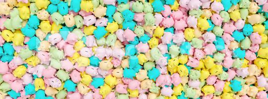 many of pastel piggy banks, banner size  : Stock Photo or Stock Video Download rcfotostock photos, images and assets rcfotostock | RC-Photo-Stock.: