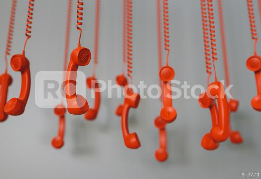 many red telephone receivers hanging over gray background concept hold or contact us   : Stock Photo or Stock Video Download rcfotostock photos, images and assets rcfotostock | RC-Photo-Stock.: