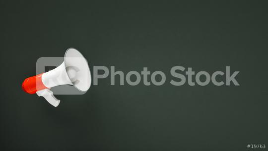 megaphone in front of a  blackboard background - 3D Rendering   : Stock Photo or Stock Video Download rcfotostock photos, images and assets rcfotostock | RC-Photo-Stock.: