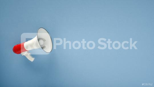 megaphone in front of a blue background - 3D Rendering   : Stock Photo or Stock Video Download rcfotostock photos, images and assets rcfotostock | RC-Photo-Stock.: